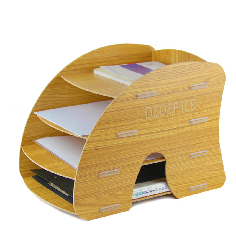 D044 creative wooden file rack file holder desktop office supplies file box A4 layer shelf book