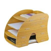 D044 Творческий деревянные стойки файл Файл Настольный держатель офисная техника коробке файла A4 слой полка Книга Держатель 5 видов цветов до...