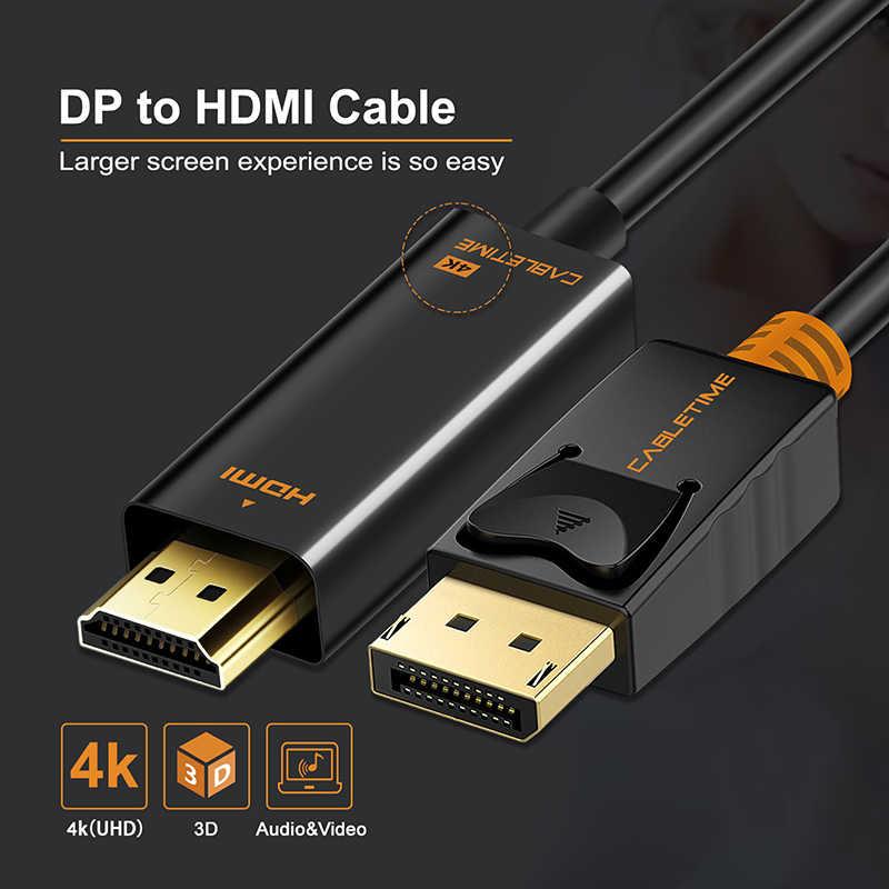 CABLETIME 2019 وصول ديسبلايبورت كابل وصلة بينية مُتعددة الوسائط وعالية الوضوح 1080P DP إلى HDMI م/م 4K 60hz محول DP 1.2 ل HDTV العارض كمبيوتر محمول C072