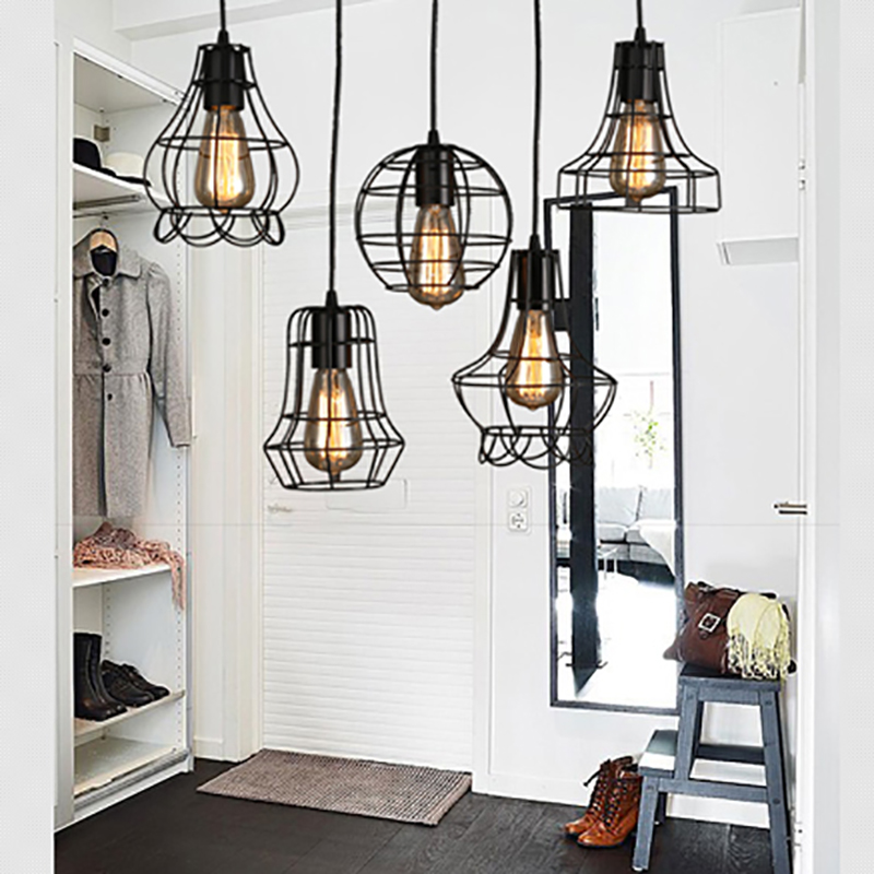 Loft retro vintage black Industrial iron cage pendant lamp cord lights illumination for dining room bedroom bar coffee office iron cage loft style creative led pendant lights fixtures vintage industrial lighting for dining room suspension luminaire