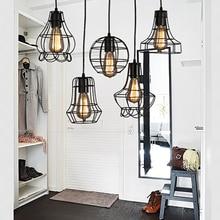 Loft retro vintage negro Industrial jaula de hierro colgante lámpara cordón luces iluminación para comedor dormitorio bar Café Oficina