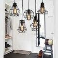 Loft retro vintage schwarz Industrielle eisen käfig anhänger lampe schnur lichter beleuchtung für esszimmer schlafzimmer bar kaffee büro