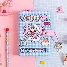 Kore sevimli kız DIY gevşek yaprak dizüstü dergisi kırtasiye seti 6 delik ciltli defter gündem 2021 planlayıcısı günlüğü not defteri hediye