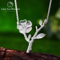 Lotus Fun Moment Real 925 Sterling Silver Natural Crystal Fashion Jewelry Flower in the Rain Pendant Necklace for Women Collier