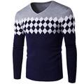 2017 Nova Marca Masculina Blusas Elegante Estrutura do Diamante Homens Homens Camisola de Manga Longa Com Decote Em V Camisola Dos Homens de Malha Blusas Pullover V