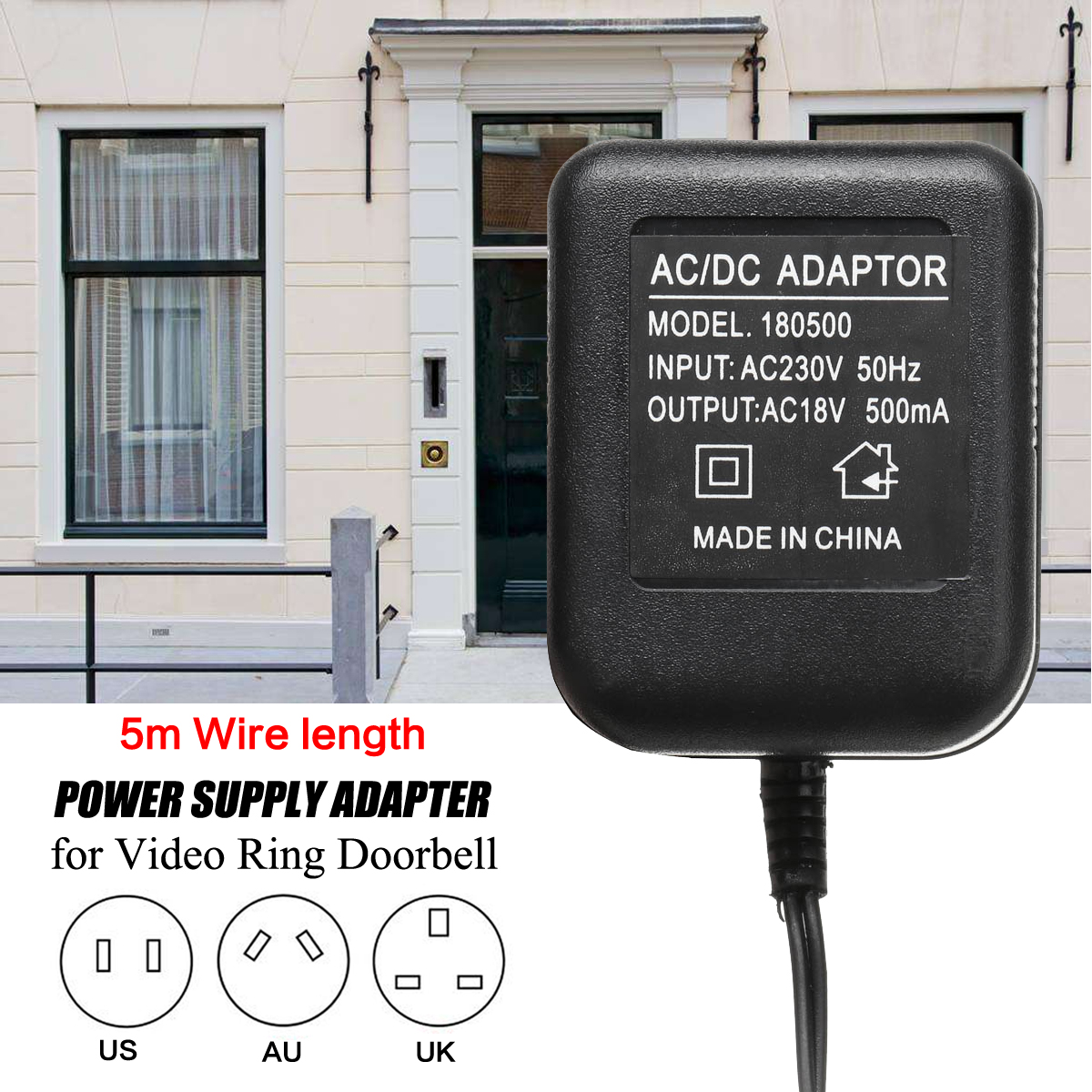AU/UK/US Plug Power Supply Adapter Transformer with 5 Meters Wire For Video Ring Doorbell AC18V AC230V ac 18v 500ma 9w output uk power supply adapter transformer easy installation for video ring doorbell