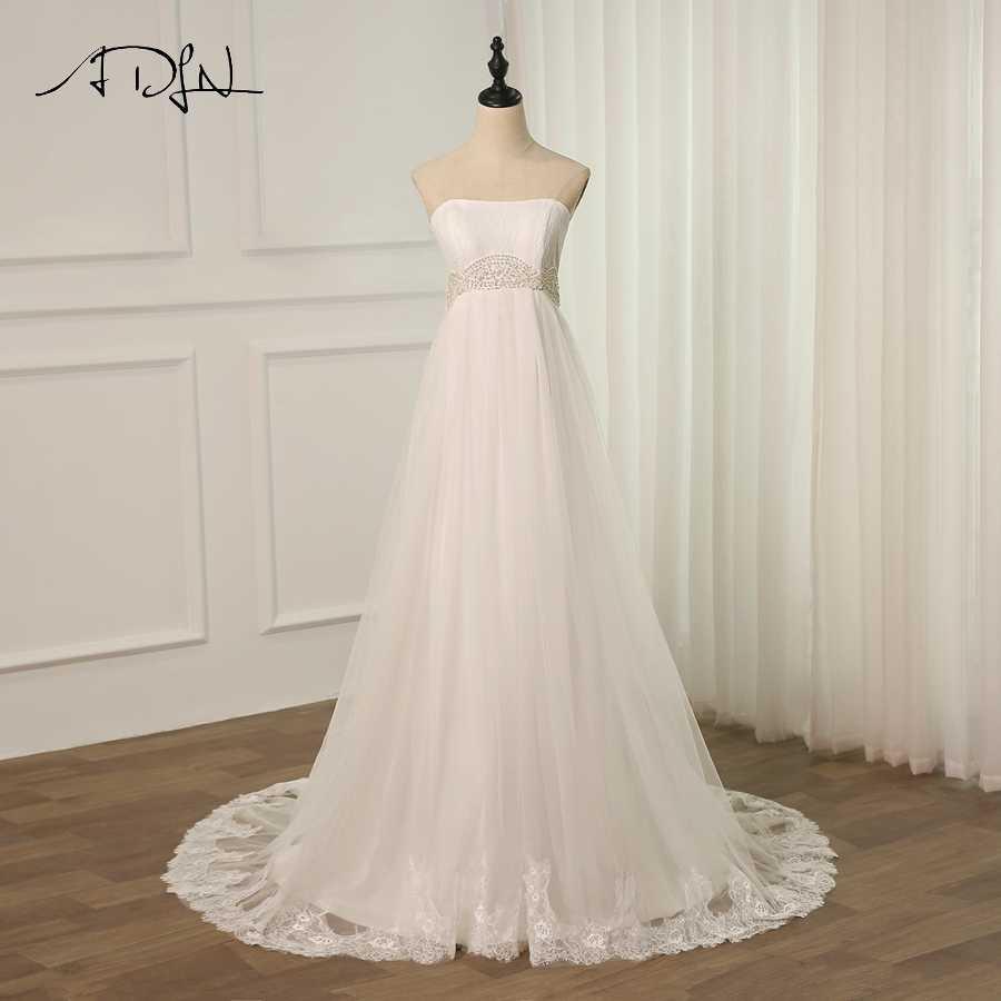 ADLN טול בהריון חתונה שמלת סטרפלס Sleeveelss אונליין תחרה חתונה שמלות Robe De Mariage לטאטא רכבת שרוכים בחזרה