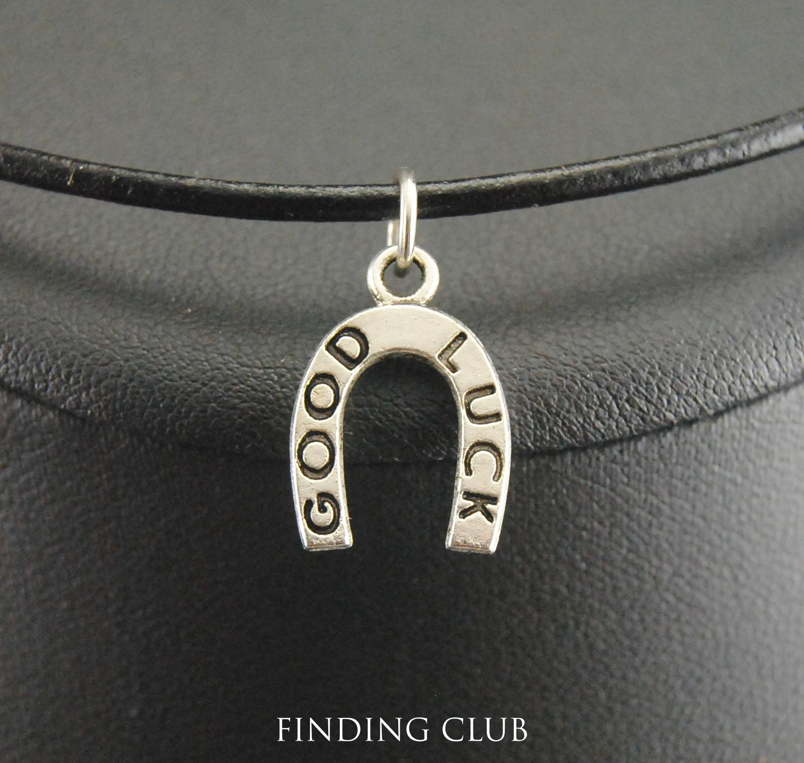 New Fashion Zinc Alloy Good Luck horseshoe charm Necklaces leather rope jewelry for men and women E086