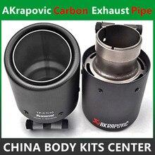 Venda quente Um Pedaço de Tomada de Entrada de 63mm 114mm Ponta De Escape Akrapovic Carbono Tubos Final Universal Tubos de Escape de Carbono ponta