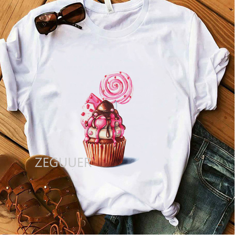 Vogue Summer Tees Cup Cake Lollipop Sweet Illustration T-shirt Lady Casual White Outdoor Holiday T-Shirt Women Cotton Soft Tops
