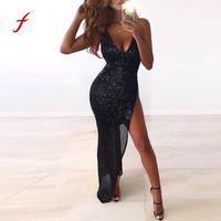 2018 Women Sequins Dresses Deep V Neck Dress Sleeveless Bodycon Dress Evening Party Irregular Dresses Female