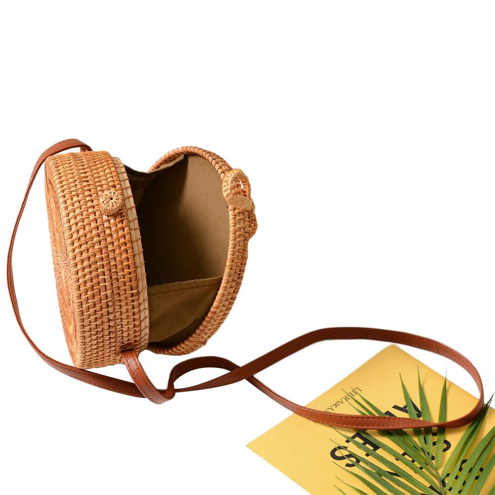 Image 4 - 2019 Ladies Handbag New Round Straw Bag Large Summer Rattan Sack Hand woven Beach Handbag Lady Slanting Pouch-in Storage Bags from Home & Garden