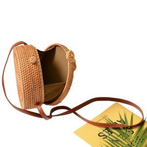 Image 4 - 2019 Ladies Handbag New Round Straw Bag Large Summer Rattan Sack Hand woven Beach Handbag Lady Slanting Pouch