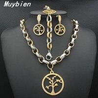 MUYBIEN Gold Unique Design Jewelry Sets Round Shape Hollow Tree Pendant Necklace Dangle Drop Earrings Free
