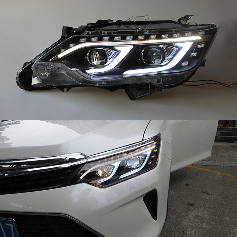 2 pcs set car styling headlights for toyota camry 2015 led drl high beam light reverse light. Black Bedroom Furniture Sets. Home Design Ideas