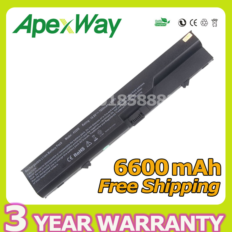 Apexway 6600mAh PH06 HSTNN-CB1A Battery For HP ProBook 4320s 4321S 4325s 4326s 4420s 4421s 4425s 4520s 4525s 420 425 620 625 аккумуляторная батарея topon top 4320 4800мач для ноутбуков hp 425 4320t 625 probook 4320s 4321s 432