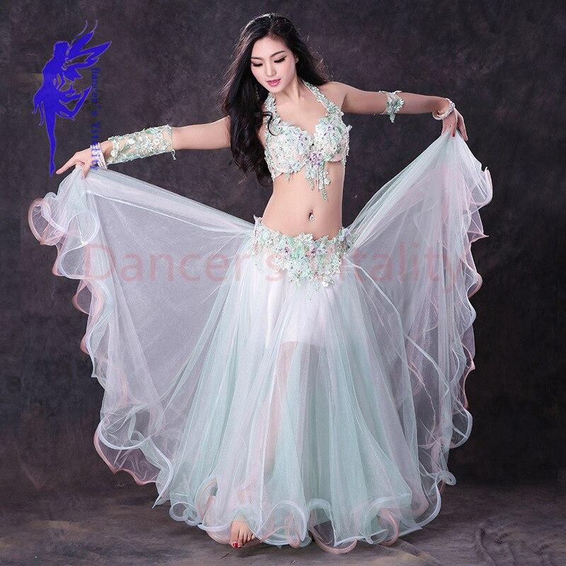 NOUVEAU! Maille costumes de danse du ventre hauts haut de soutien-gorge + 2 manches + jupe 4 pièces de danse du ventre pour les femmes ventre danse costumes
