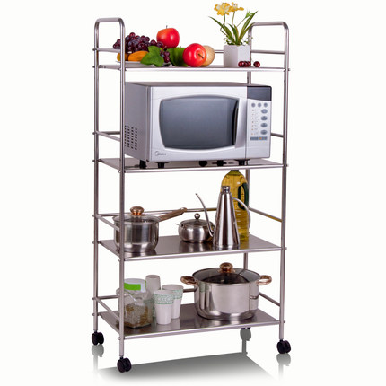 Microwave Oven Rack Stainless Steel Kitchen Utensils Floor Rack