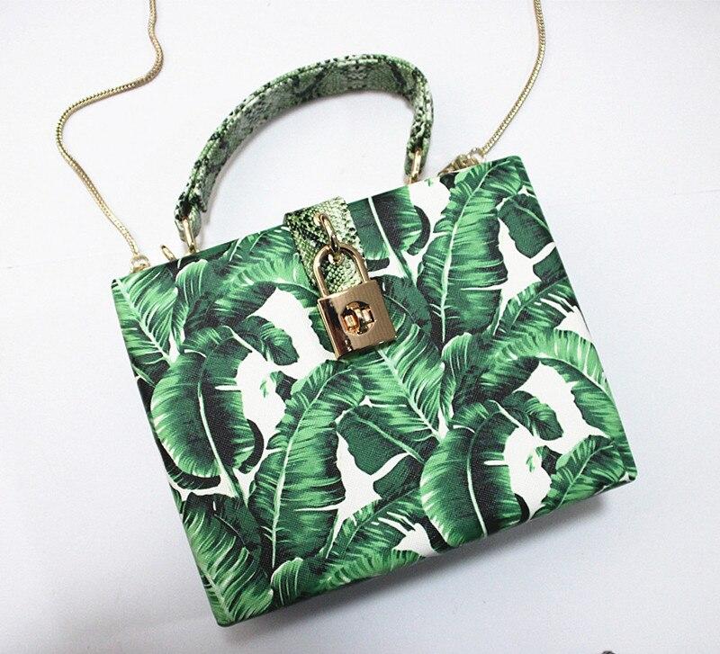 18 Women messenger bags Brand New Elegant Spring Summer Shoulder diagonal Box Bag Woman leave Print art Clutch banquet Handbag 13