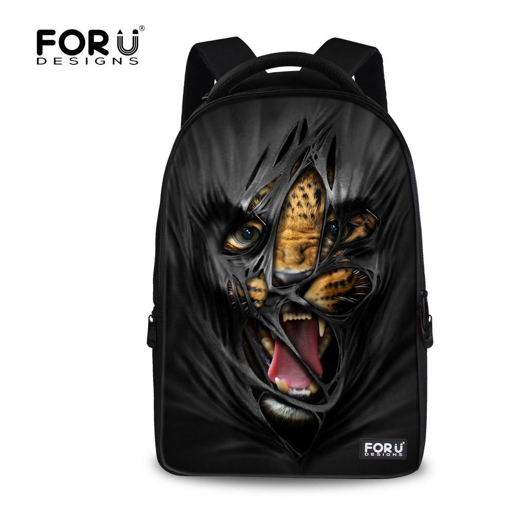 ФОТО Black Men's Travel Backpack Printing Leopard Backpack,3D Animal Print Backpack for Teenager Jaguar Bag,Children School Backpacks