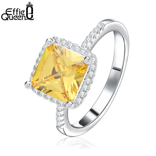 Effie Queen Luxury Princess Cut Yellow CZ Ring with Micro Paved Clear Zircon 3 L
