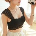 Sexy Bordados de Flores Mulheres Tanque Rendas Encabeça 2017 Verão Estilo Black White Strap Crochet Top curto Festa Casual Colete Cami