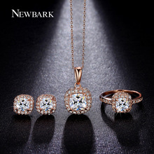 NEWBARK Classic Jewelry Set Square CZ Diamond Pendant Necklaces Rings Cute Stud Earrings Rose Gold And Silver Color Women Gifts