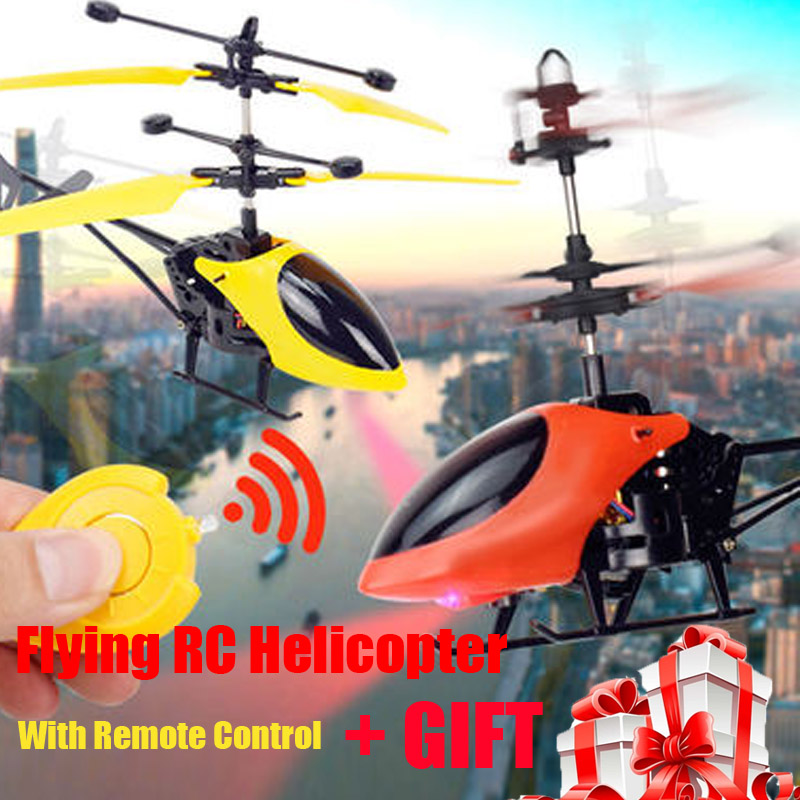 New Mini RC drone Flying RC Helicopter with remote control Aircraft Suspension induction helicopter LED Light Toys for Children