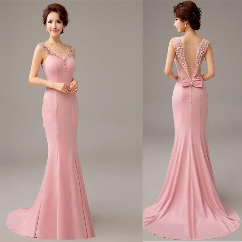 Pretty 2018 New Pink Mermaid Bridesmaid Dresses With Pearls And Bow Formal Evening Gowns Long Party Dresses With Train Vestido