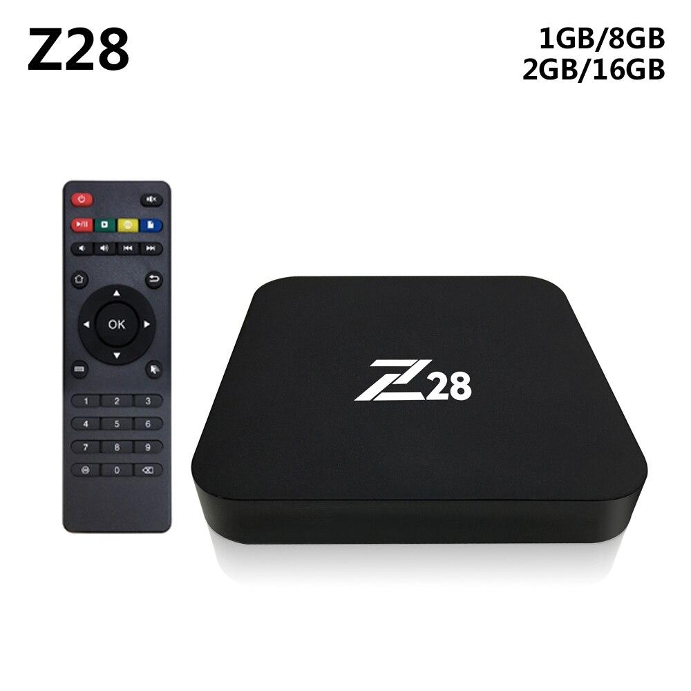 Z28 Android 7.1 TV Box RK3328 Quad Core 64Bit 2 gb + 16 gb/1 gb + 8 gb H.265 UHD 4 karat VP9 HDR 3D Mini PC WiFi Smart Media-Player