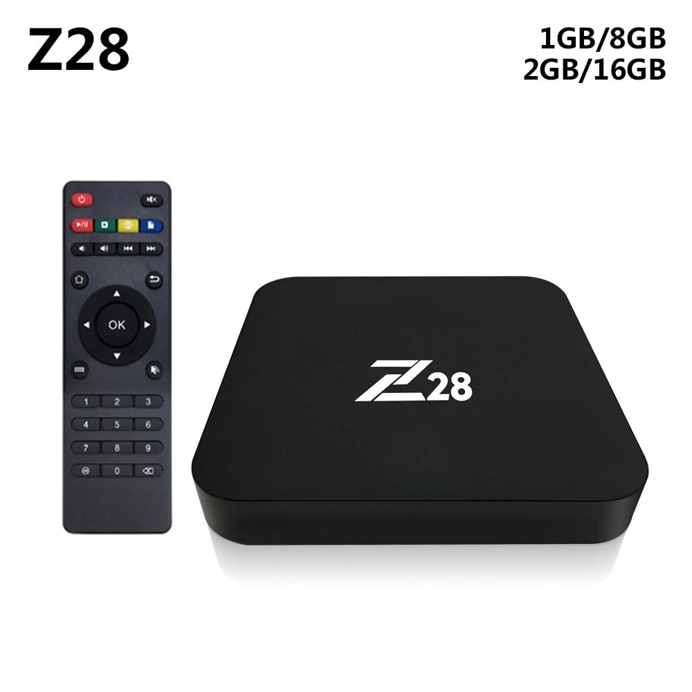 Z28 Android 7.1 TV Box RK3328 Quad Core 64Bit 2 GB + 16 GB/1 GB + 8 GB H.265 UHD 4 K VP9 HDR 3D Mini PC WiFi Smart Media Player