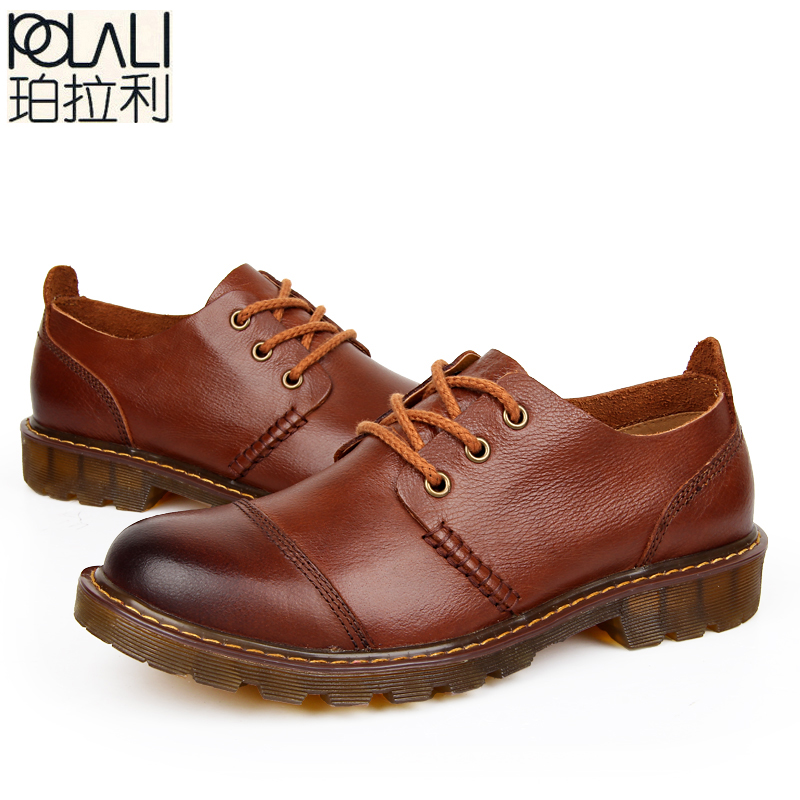 POLALI Men Leather Shoes Casual New 2018 Genuine Leather Shoes Men Oxford Fashion Lace Up Dress