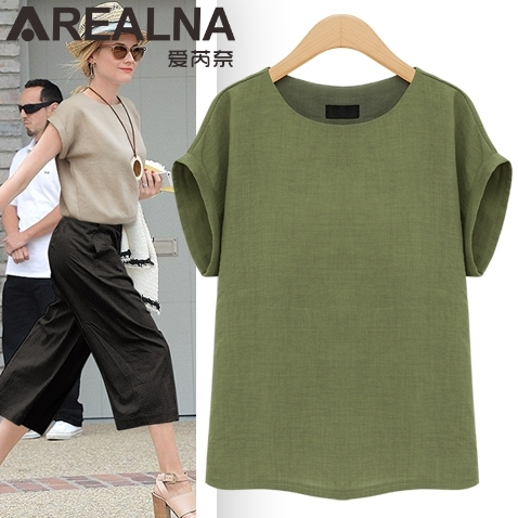 AREALNA Summer Fashion shirt women tops Short Sleeves Female Blouses Casual Loose office blouse Blusas femininas Plus Size 5XL 4