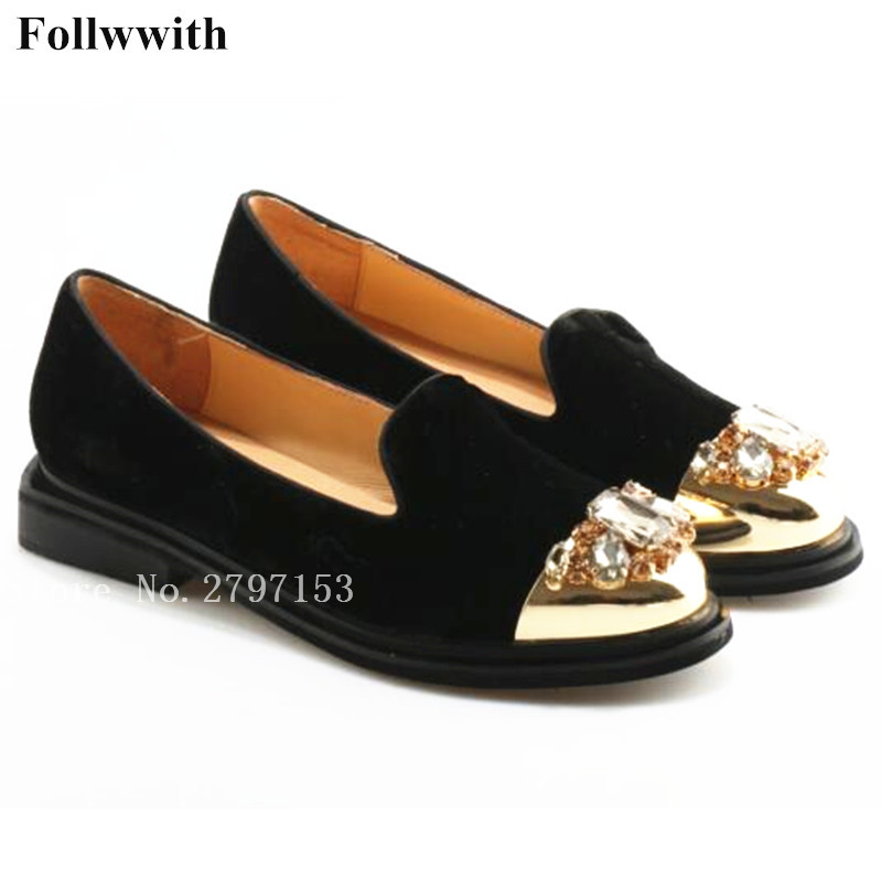 2018 Follwwith Women Flats Slip On Smoking Crystal Metal Round Toe Wine Black Flock Super Star Luxury Brand Shoes Woman yanicuding round toe women flock ankle booties metal short boots zip design luxury brand fashion runway star autumn shoes flats