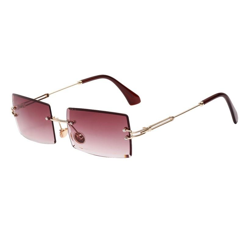 Small Rectangle Sunglasses Women Rimless Square Sun Glasses For Women 2019 Summer Style Female  Green Blue