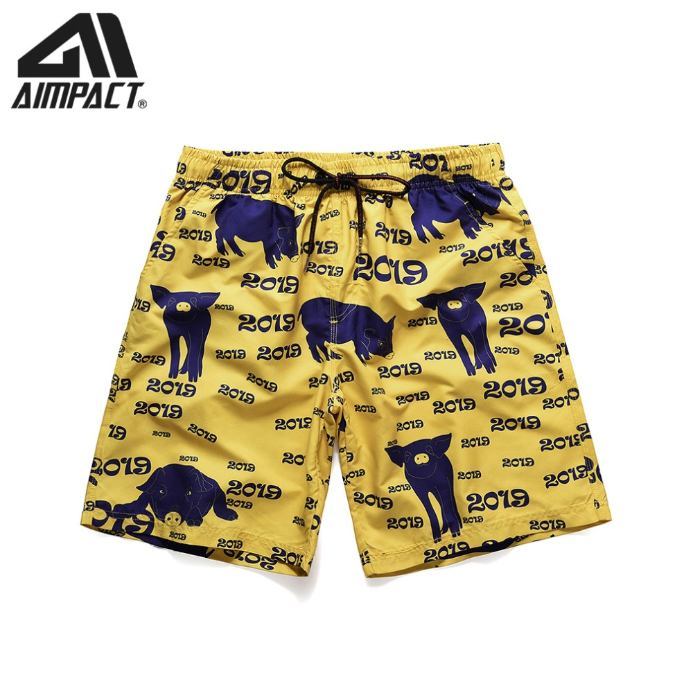 Men's   Board     Shorts   Quick Dry Beach   Shorts   Swimwear Print Black Pig Summer Relaxed Fitness Surfing Swimming male Trunks AM2182