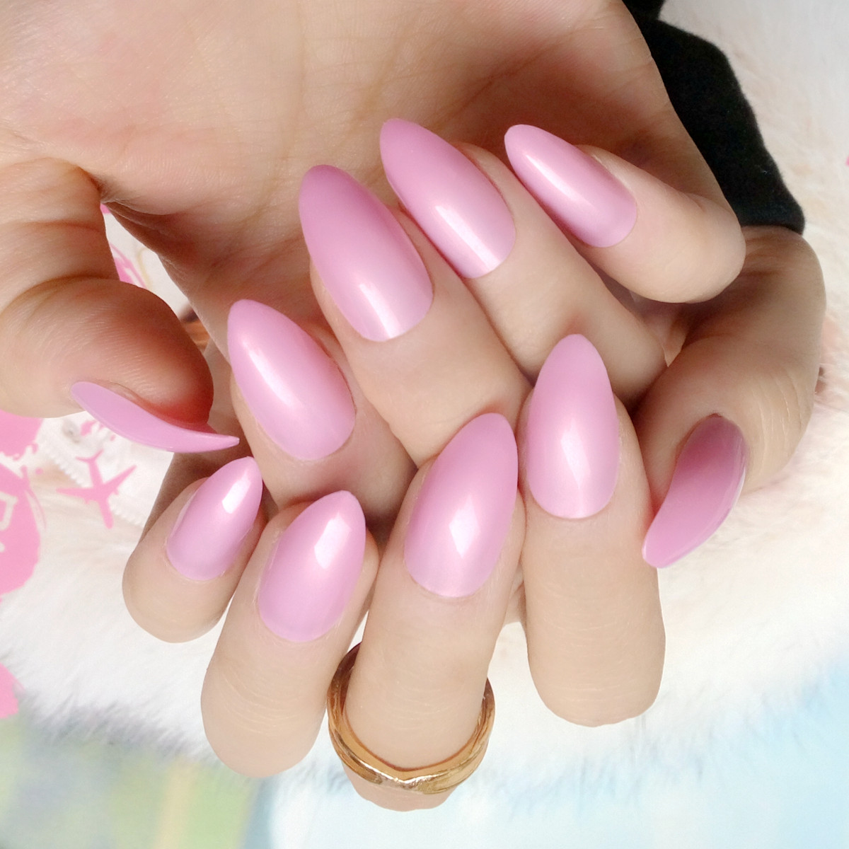 24Pcs Shiny Surface False Nails Candy Pearl Pink Acrylic Fake Nail ...
