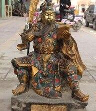34 «Огромный Перегородчатой Бронзовый Свинка Сиденья Дракон Гуань Гун Юй Воин Guangong Статуя