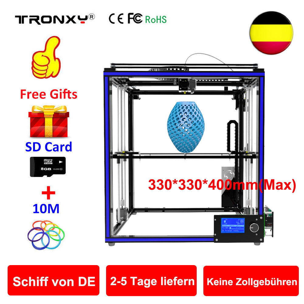 Tronxy 3D Printer kit Printing Plus Size 330*330*400mm Metal Frame Structure High Precision 3D Printer DIY Kit Dual Z Lead Screw zonestar newest full metal aluminum frame big size 300mm x 300mm auto level laser engraving run out decect 3d printer diy kit