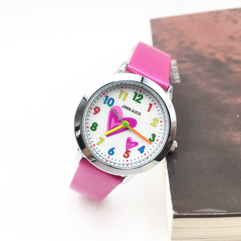 Quartz Kids Watch Cartoon Sweet Heart Watches For Children Girls Students Wrist Watch PU Leather Colorful Hands Wristwatch