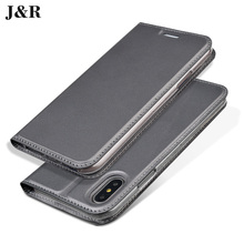 J&R Luxury Leather Case for iPhone X Flip Cover For iPhone 10 iPhoneX 5.8 Inch Business Book Phone Case With Stand Card Holder(China)