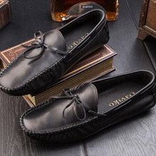 Autumn leather peas shoes men casual lazy shoes England breathable soft bottom driving shoes trend youth sailors 606