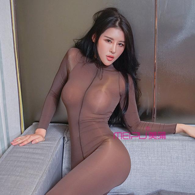 Sexy Women Zipper Open Turtleneck Bodysuit Shiny See Through Teddy Bodysuit Lingerie Catsuit Sexy Pantyhose Body stockings F30