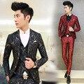 2017 Hombres de La Manera Traje Floral Impreso Trajes de Hombre 3 UNIDS/conjunto Coreano Terno Slim Fit Boda Prom Blazer Ropa de la Etapa de hombres