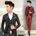 2017 Moda Masculina Terno Ternos dos homens Floral Impresso 3 PCS/definir Coreano Terno Slim Fit Blazer Roupas de Palco Do Casamento Prom para homens