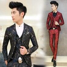 2018 Fashion Men Suit Floral Printed Men's Suits 3 PCS / Set Korean Terno Slim Fit Wedding Prom Blazer Stage Clothing for Men