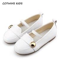 CCTWINS KIDS 2017 Kid Brand Genuine Leather Green Shoe Children Fashion White Ballet Pump Toddler Baby Girl Black Flat G1305