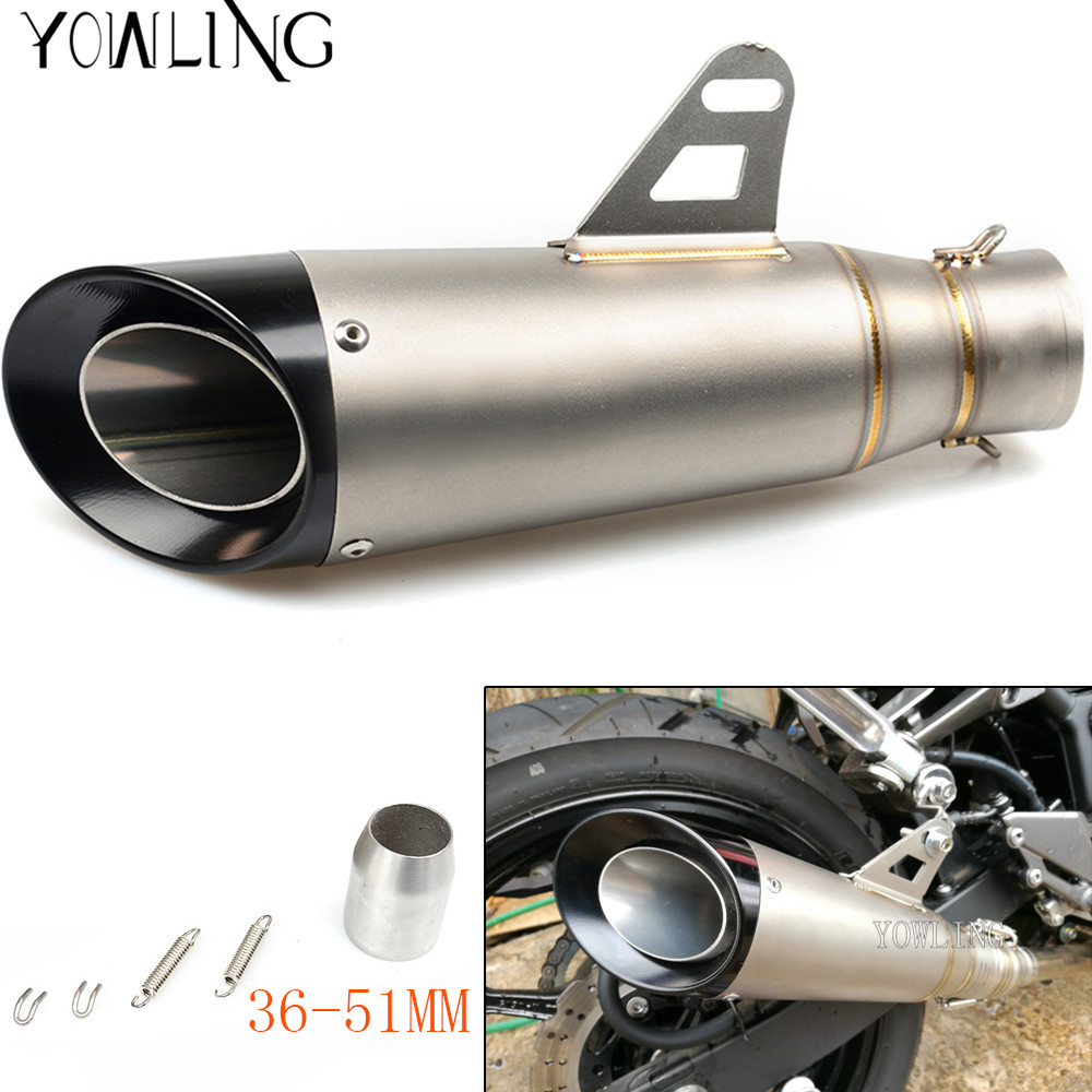 Universal 36MM-51MM Modified Motorcycle Exhaust Muffler fit for FZ6 YZF R1 R6 R3 MT07 zx6r z800 z900 mt09 fz09 gsxr750 cbr300