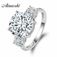 AINOUSHI Luxury Round Shape Wedding Ring 5 Carat Round Cut Promise Jewelry 925 Sterling Silver Women Engagement Wedding Ring