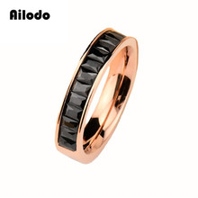 Ailodo Crystal Engagement Wedding Rings For Women Rose Gold Color Titanium Steel Rings Valentines Gifts Fashion Jewelry LD012 цена и фото